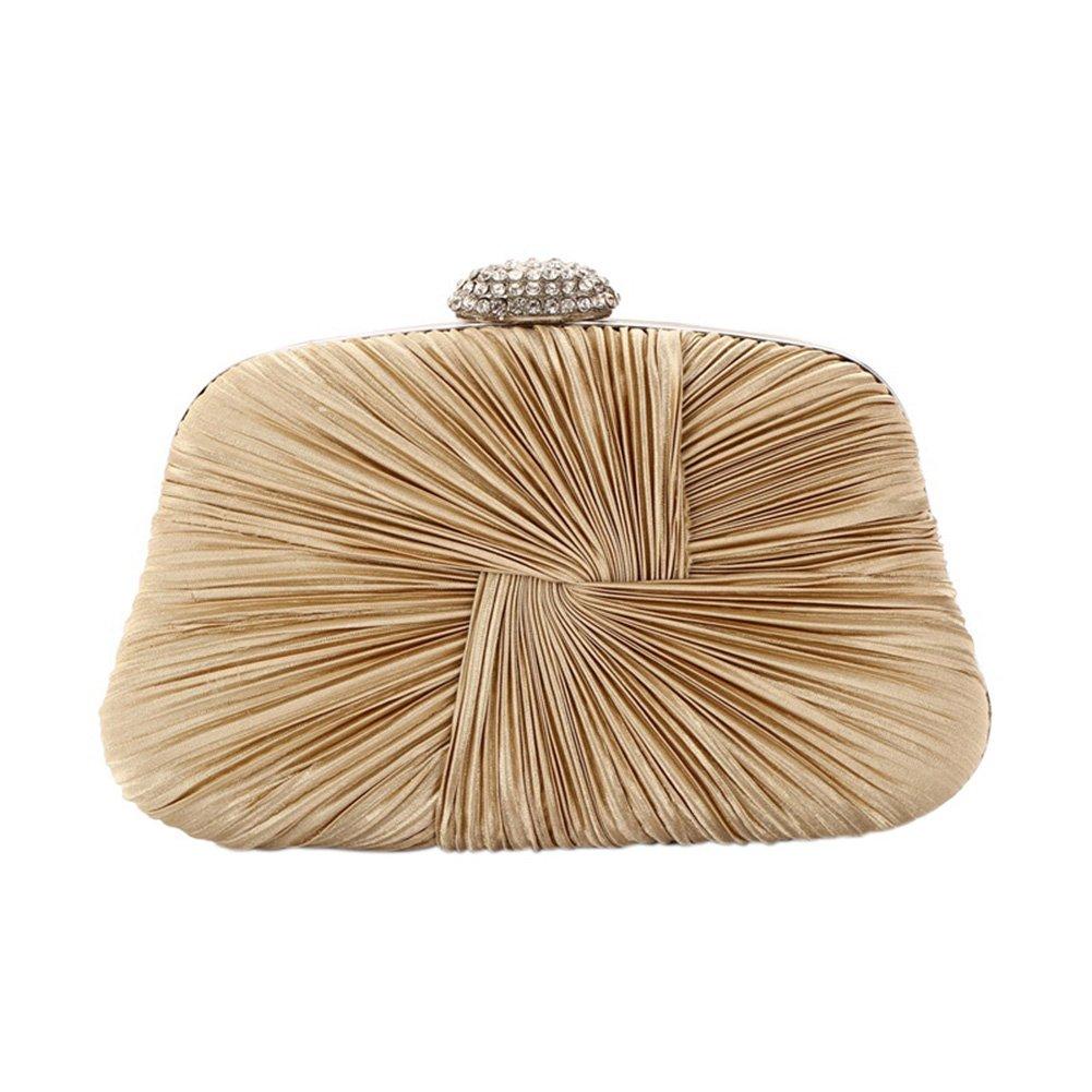 Women Elegant Evening Clutch Bag Stylish Pleated Wedding Party Handbag Single Shoulder Bag