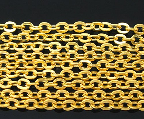 Cable Link Chain, 10 Meters - Over 30 Feet, Small 2x3mm (Gold Plated) - Bulk Wholesale