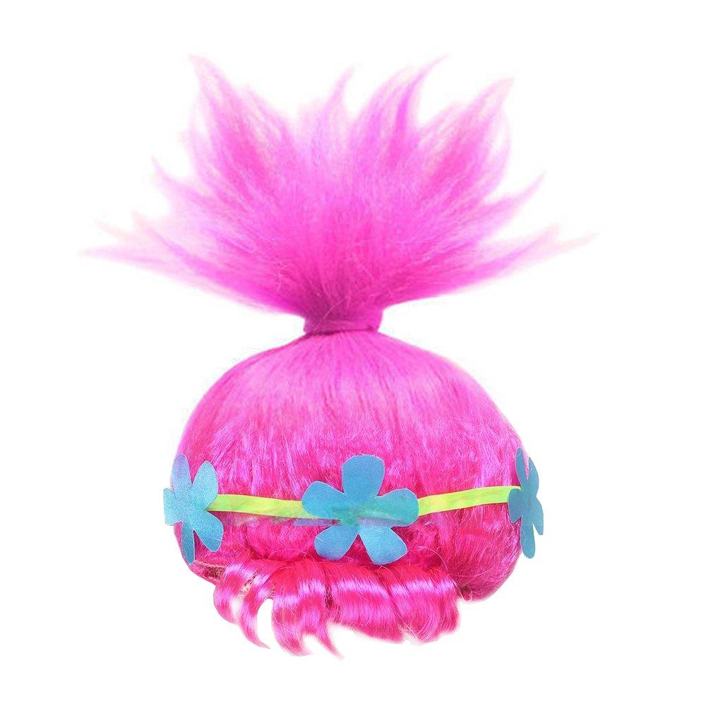 Trolls Costume Cosplay Halloween Clothes Kids Fancy Girl Dress Wig
