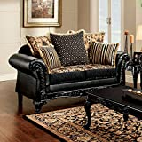 Theodora Love Seat Black Leatherette With Black Color Seats