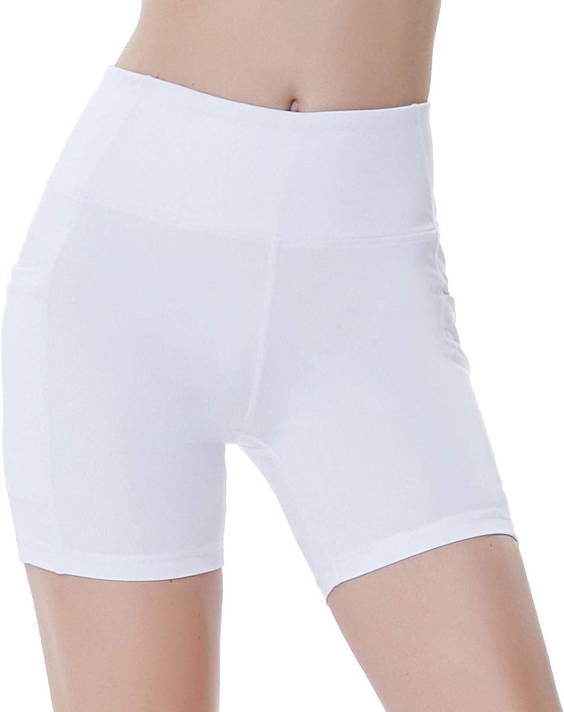 """LAZALAM Women's 2"""" /5"""" /8"""" High Waist Workout Yoga Shorts with Pockets Athletic Running Shorts Exercise Biker Shorts: Clothing"""