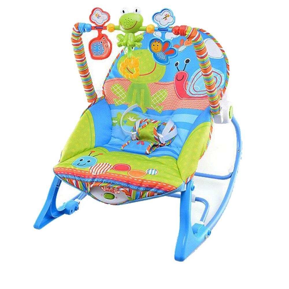 ZXZV Children's Rocking Chair Multi-Function Shaker, Rattle Cradle, Newborn Music Rocking Chair, with Vibration Function Suitable for Children to Sleep (Color : Blue, Size : 54X39CM) by ZXZV
