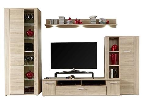 Dynamic24 Rustico - Mueble de salón (Roble Claro, con ...