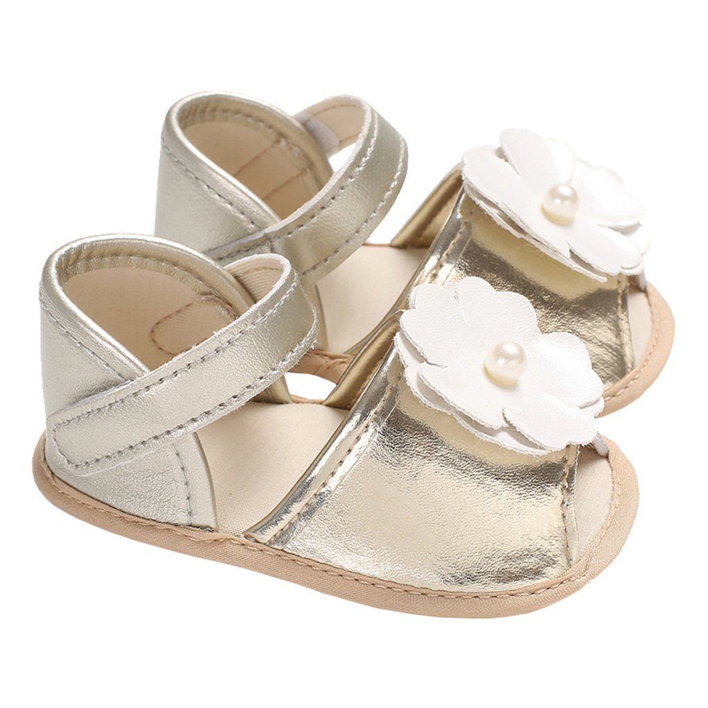 lakiolins Baby Girl Pearl Flowers Open Toe Sandals Wedding Princess Dress Shoes Crib Shoes Golden Size M