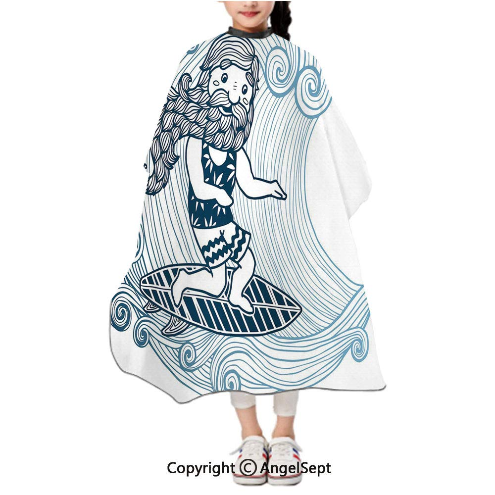 Waterproof Kids Haircut Salon Cape,Doodle Surfer with Long Beard on Swirled Waves Surfboard Water Sports Light Blue Dark Blue White,47.2x39.4 inches,Styling Capes Cloth For Children