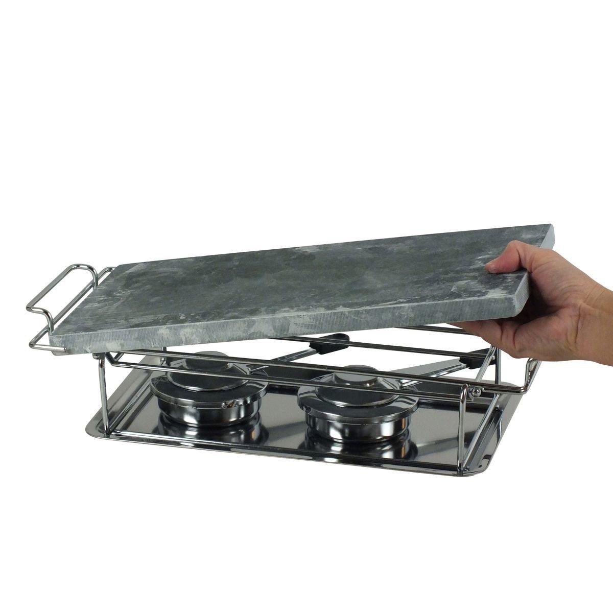 Gourmet-Grill 66510 - Plancha para cocinar a la piedra, calienta platos, con armazón y hornillos (32 x 19 cm): Amazon.es: Hogar