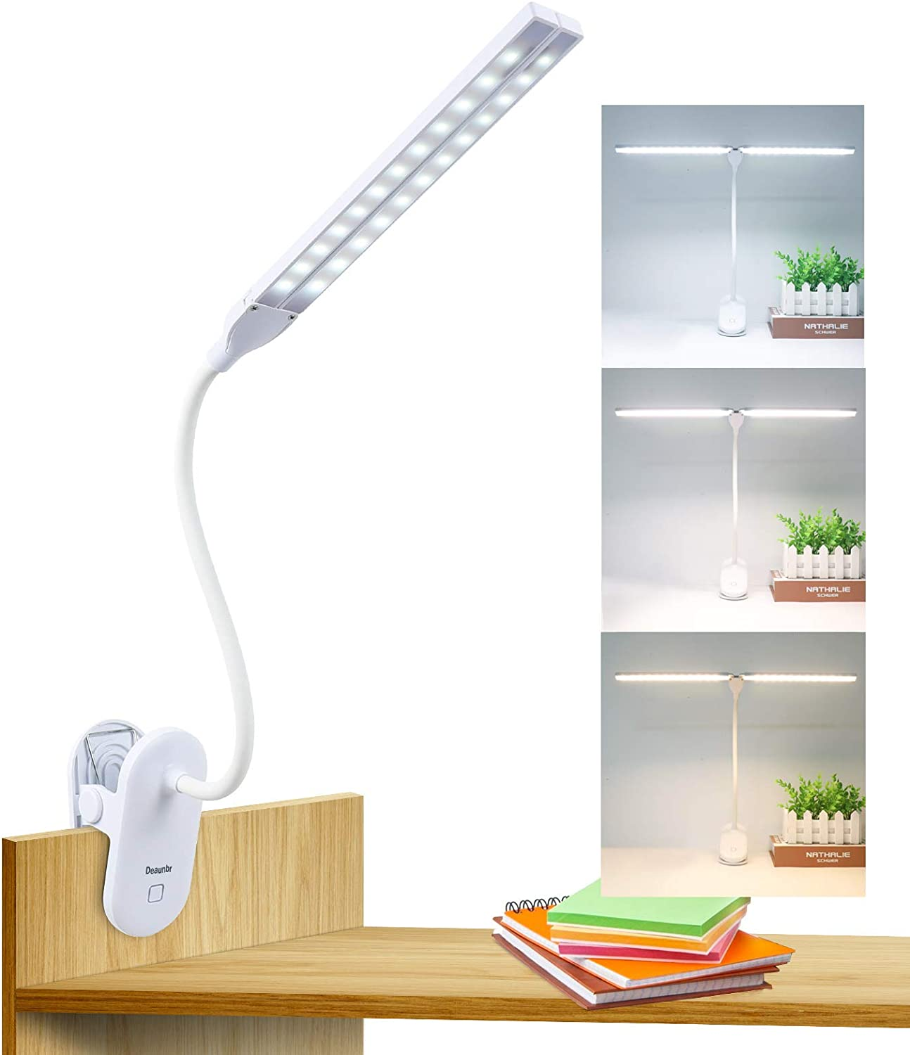 LED Reading Light with Clip, Deaunbr Desk Lamp 48 LEDs 2600mAh Battery USB Rechargeable Book Lights Stepless Adjustable Brightness Eye Protection Flexible Table Lamps for Bed Headboard, Home, Office