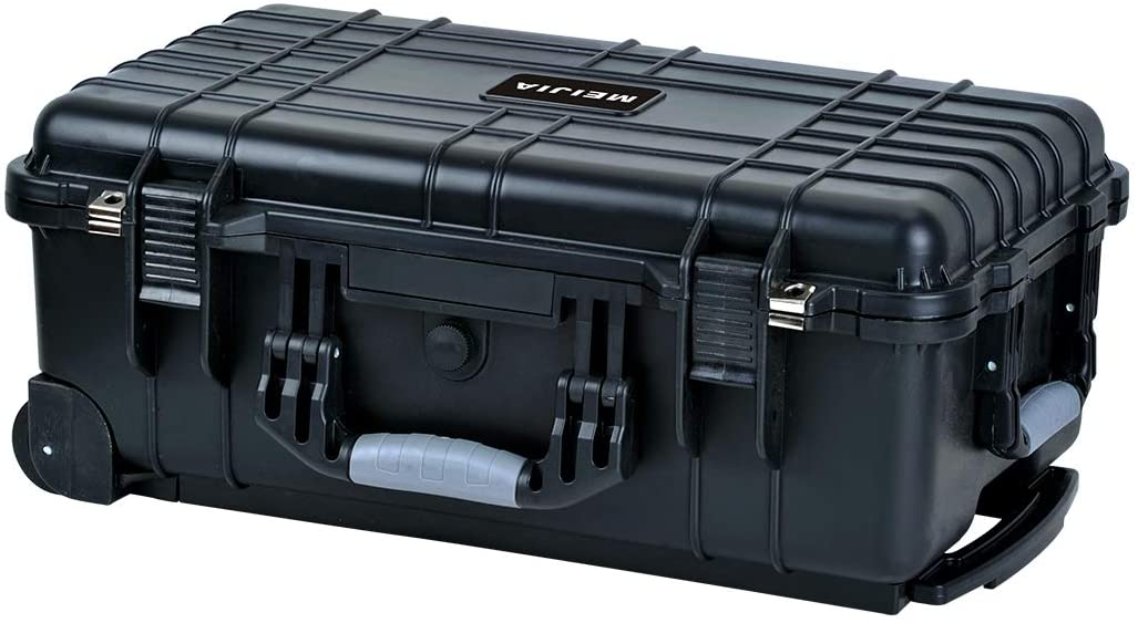 For Camera,Drones,Equipment,Elegant Black,22 x13.81x9inches MEIJIA All Weather Portable Waterproof Hard Case with Retractable Pull Handle and Rolling Wheels,Foam Inserted