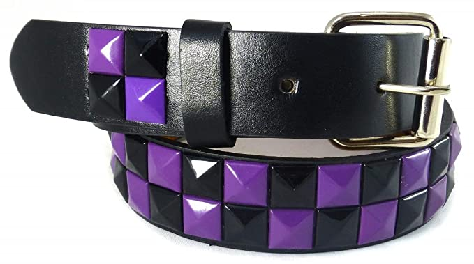 Amazon.com: Nice Shades Studded Checkered Kids Belts Black/Purple ...