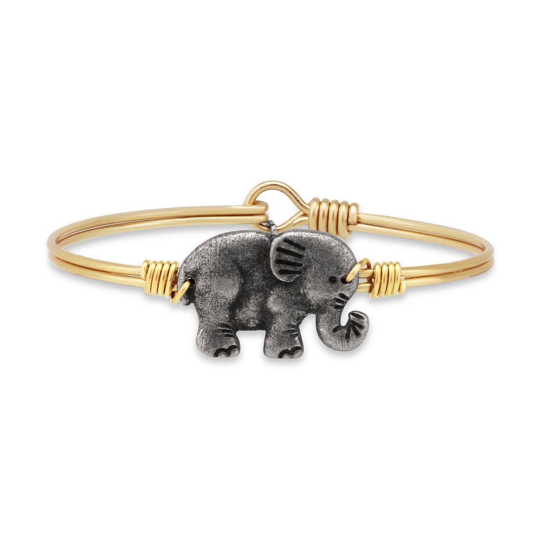 Elephant Bangle Bracelet - Brass Tone Size Petite