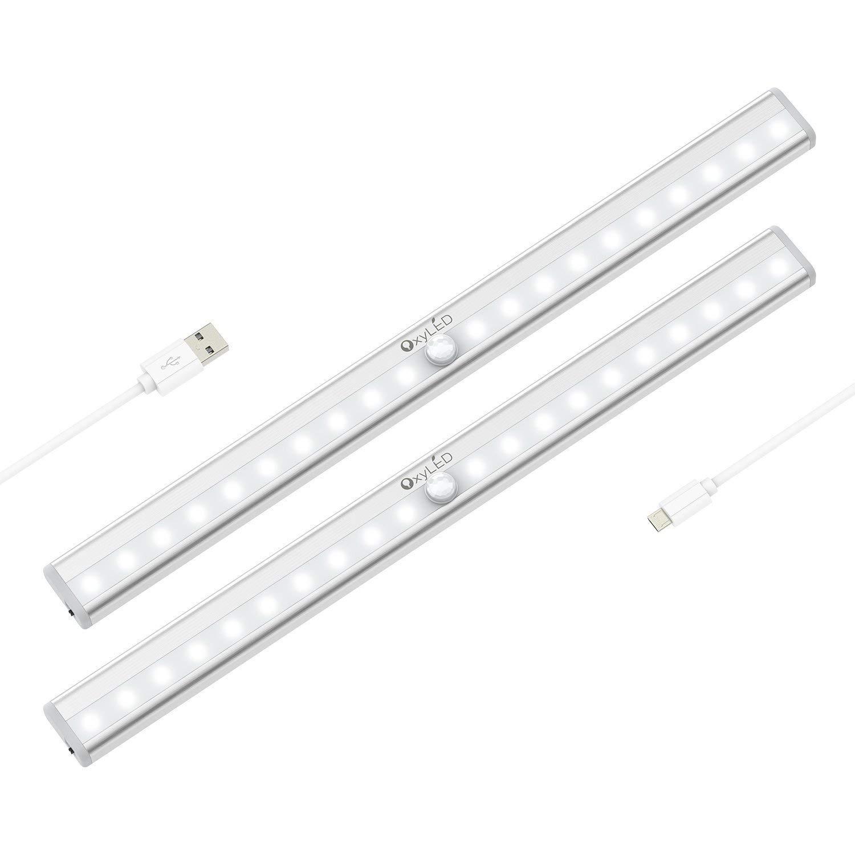 Under Cabinet Lights, OxyLED 20 LED USB Rechargeable Motion Sensor Closet Lights Wireless Under Counter Lighting, Motion Led Light Bar for Closet, Cabinet, Wardrobe, Kitchen, Hallway (T-02S, 2 Pack)