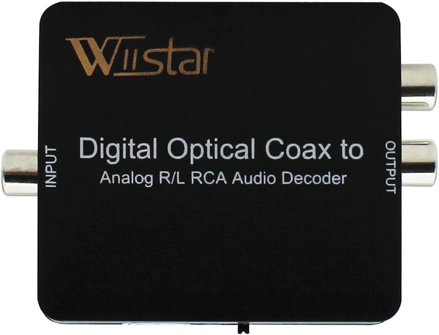 Wiistar Fiber Optical Decoder Support AC3/DTS/Toslink Coaxial Digital to Analog Audio L/R Decoder 3.5mm Earphone