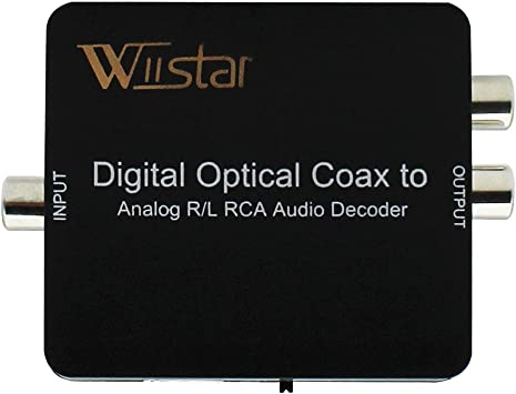 Wiistar Fiber Optical Decoder Support AC3//DTS//Dolby Toslink Coaxial Digital to Analog Audio L//R Decoder 3.5mm Earphone