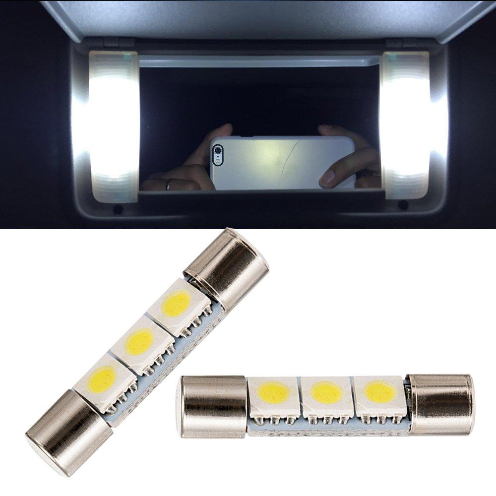 NSlUMO White LED 28mm-31mm 5630 3SMD Vanity Mirror Light Bulb 6614 Fuse LED Light 6641 TS-14V1C For Interior Sun Visor Vanity Mirror (2) Newsun