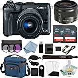 Canon EOS M6 Digital Camera (Black) With EF-M 15–45mm f/3.5–6.3 IS STM Lens + Advanced Accessory Bundle - Includes EVERYTHING You Need To Get Started