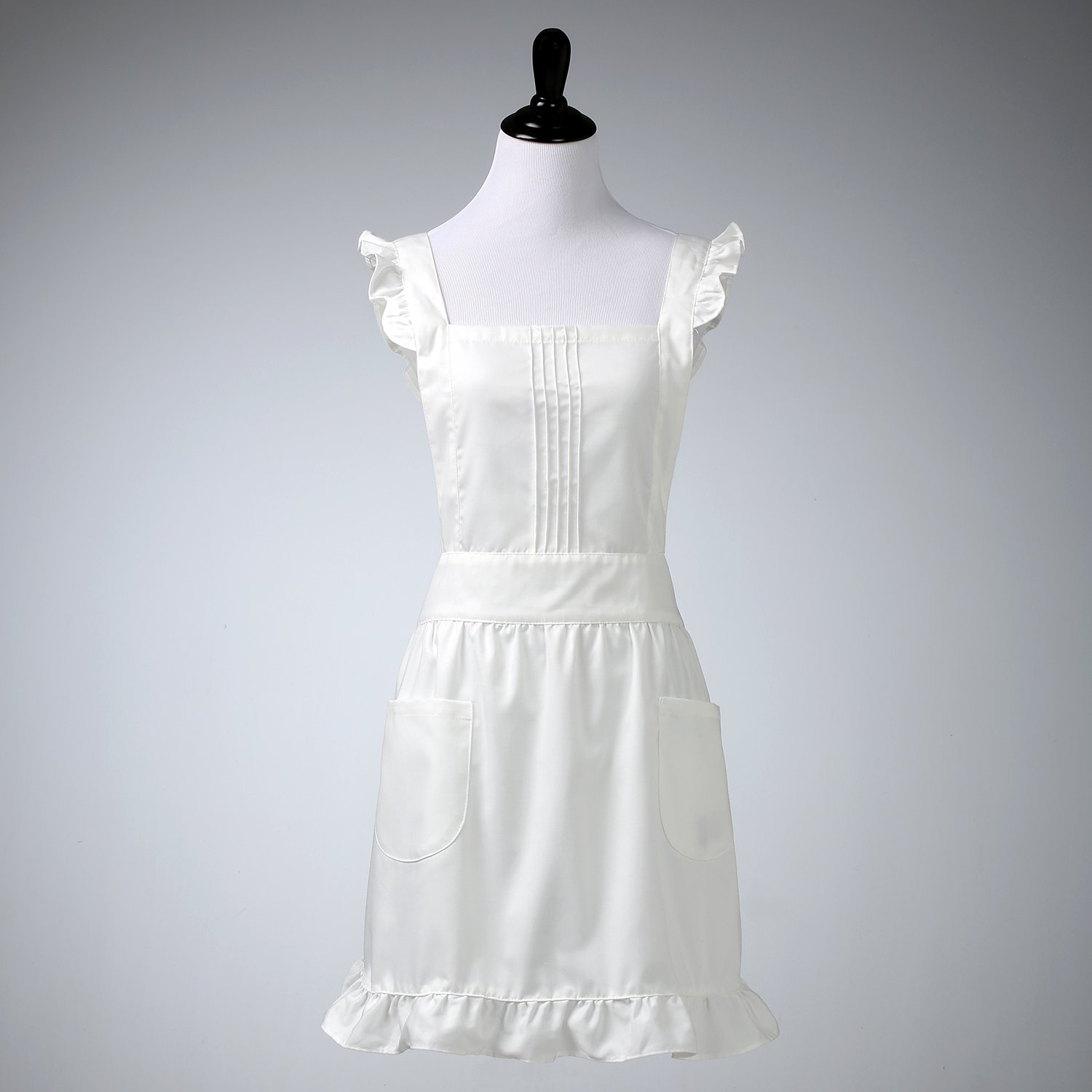 White ruffle apron amazon - Amazon Com Plum Hill Womens Retro White Victorian Apron With Bib And Pockets Pinafore For Cooking Or Costume Medium Home Kitchen