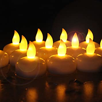Novelty Place [Float On Water] Flameless Tealights, Battery Operated  Floating LED Tea Lights