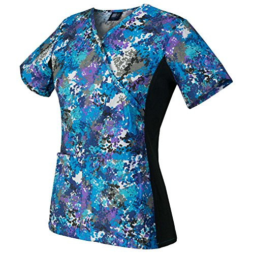 (Medgear Scrubs Printed Top, Knit Side Panels, 2 Pockets, Medical Uniform (L, SPWH))