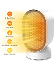 dodocool Mini Ceramic Fan Heater, Portable Space Heater Fan with Automatic Oscillation and Heat & Cold Settings, Quiet Electric Heater Energy Saving with Over-heat & Tip-over Protection,600w