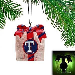 Texas Rangers LED Holiday Gift Box Ornament