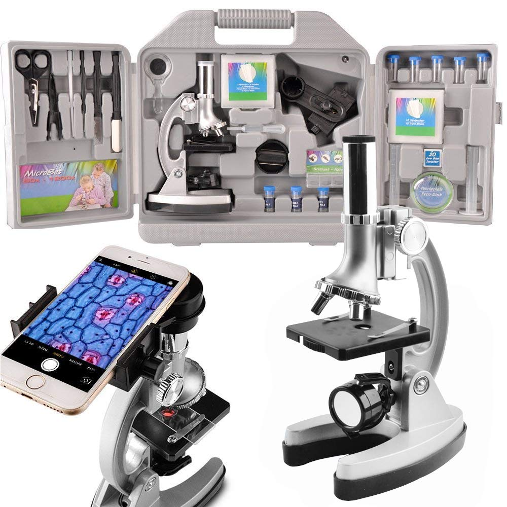 Gosky Microscope Kit for Kids and Beginners with Metal Arm and Base, Magnifications from 300x to 1200x, Includes 70pcs+ Accessory Set, Handy Storage Case