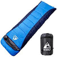 Hewolf Mummy Sleeping Bags for Adults All Seasons Camping–Extra Large 350g Goose Down Filler Warm Lightweight Portable Spliced Envelope Sleeping Bags with Compression Sack - 220×75cm(Blue)
