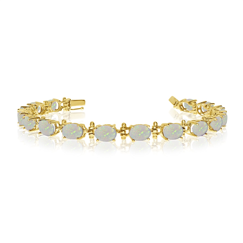 14K Yellow Gold Oval Opal Tennis Bracelet (8 Inch Length)