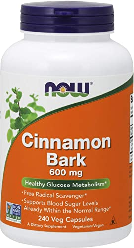 NOW Supplements, Cinnamon Bark 600 mg, Non-GMO Project Verified, 240 Capsules