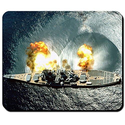 USS Iowa BB-61 Battleship guns US Navy launch cannon- Mouse Pad / Mousepad (Iowa 61 Bb Battleship)