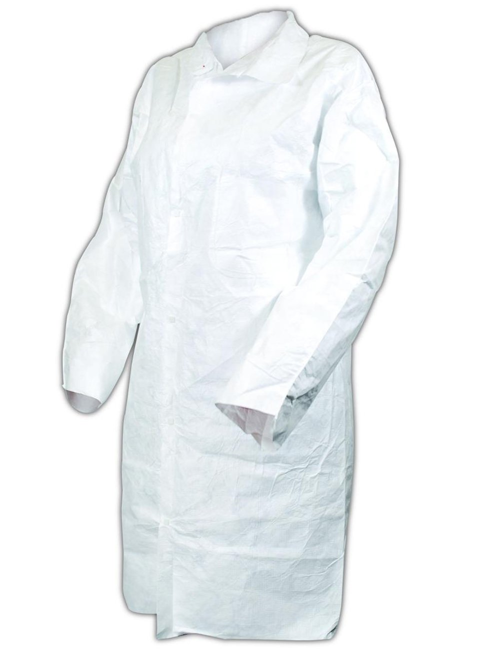 Magid C115L EconoWear Tyvek Disposable Lab Coat with Collar and Two Patch Pockets, Large, White  (Case of 30)