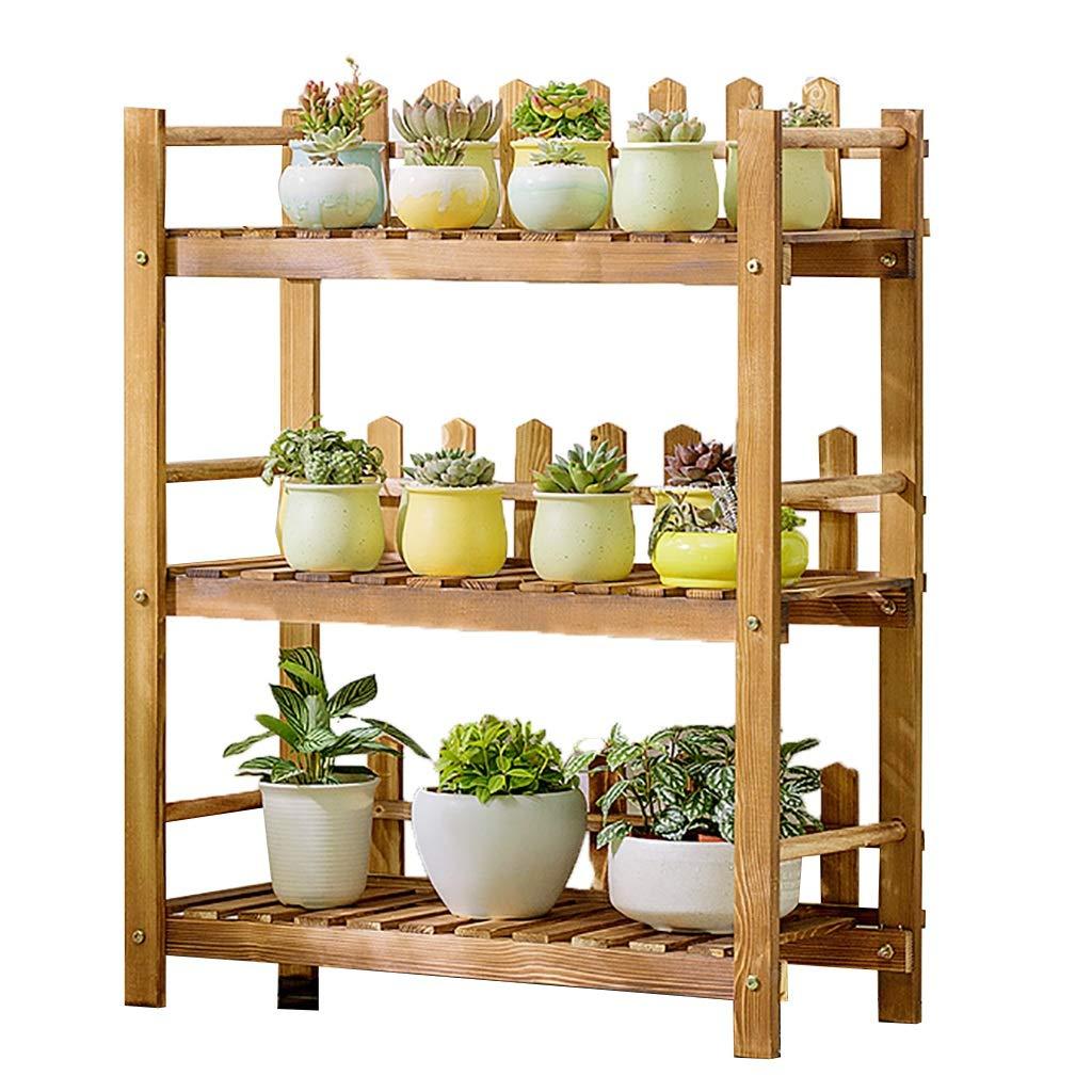 Portavasi Stand per piante da esterno per interni, 3 supporti per fiori in legno, supporto per vaso da fiori non facilmente deformabile, scaffali per fiori processo di carbonizzazione Scaffali porta p