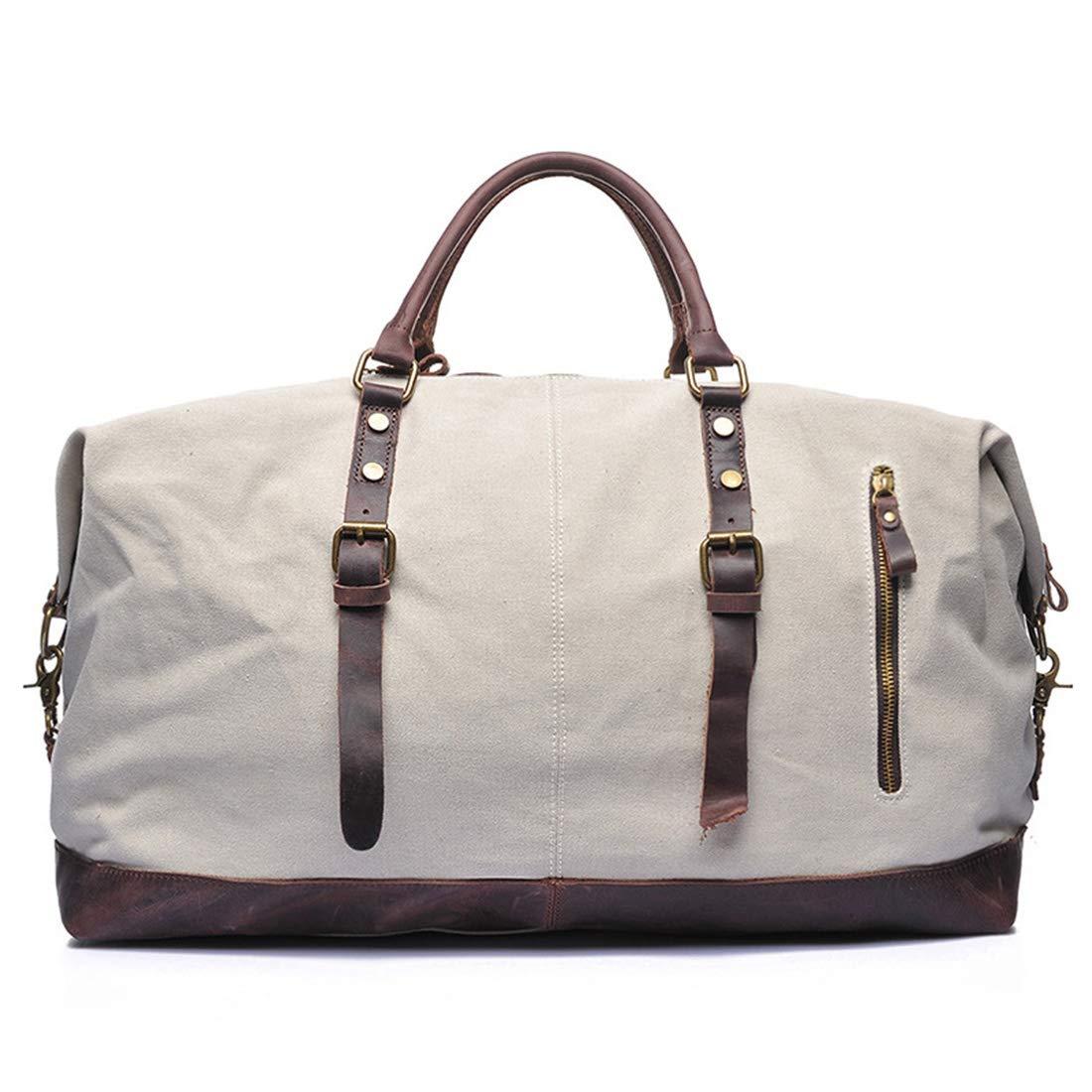CAFUTY キャンバストラベル大容量ハンドバッグシングルショルダークロス多機能荷物袋 (Color : ホワイト)  ホワイト B07MQ7LSLF