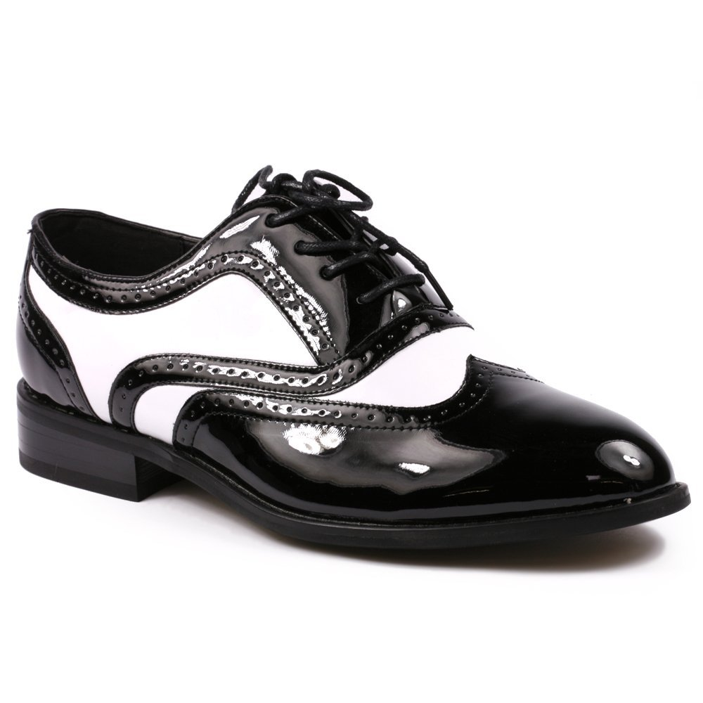 1950s Mens Shoes: Saddle Shoes, Boots, Greaser, Rockabilly Mens Black White Patent Tuxedo Perforated Wing Tip Lace up Oxford Dress Shoes Miko Lotti TPCK01103  $39.99 AT vintagedancer.com