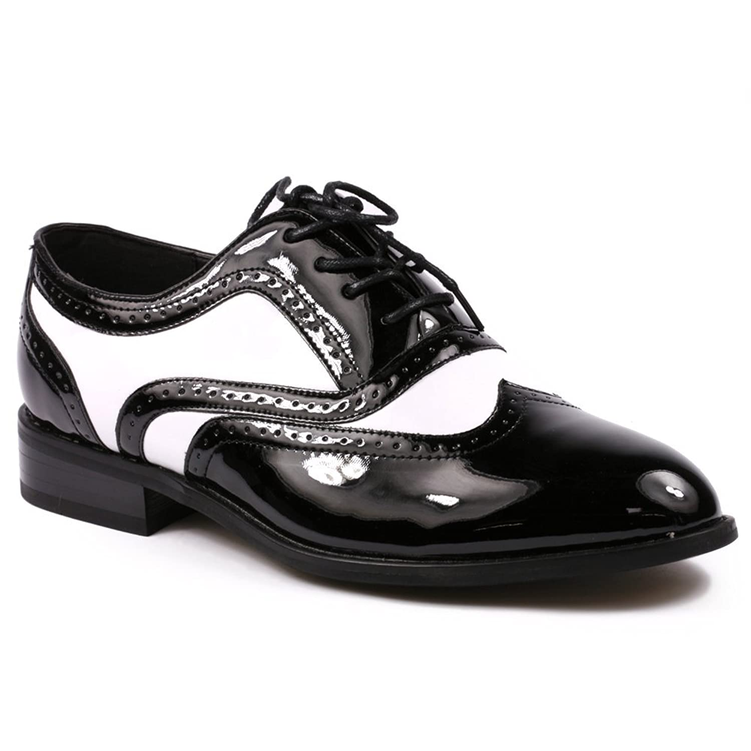 1950s Mens Shoes: Saddle Shoes, Boots, Greaser, Rockabilly Mens Black White Patent Tuxedo Perforated Wing Tip Lace Up Oxford Dress Shoes RUNS ONE FULL SIZE BIG $38.99 AT vintagedancer.com