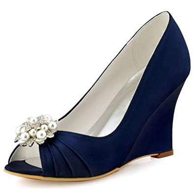 ElegantPark WP1549 Women s Wedges Pearls Rhinestones Clips Peep Toe Wedding  Party Dress Court Shoes Navy Blue 77a13eec6b38