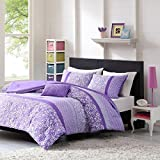 Teen Girl Comforter Sets Purple Lavender Lilac Bedding Flower Paisley Polka Dot Design with Embroidered Pillow Includes Bonus Sleep Mask From Designer Home (Twin/Twin XL)