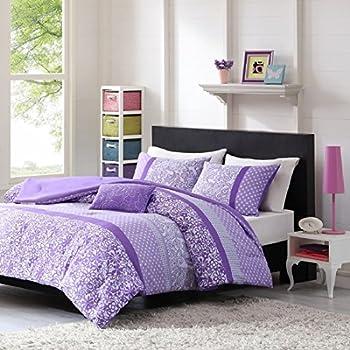 Teen Girl Comforter Sets Purple Lavender Lilac Bedding Flower Paisley Polka Dot
