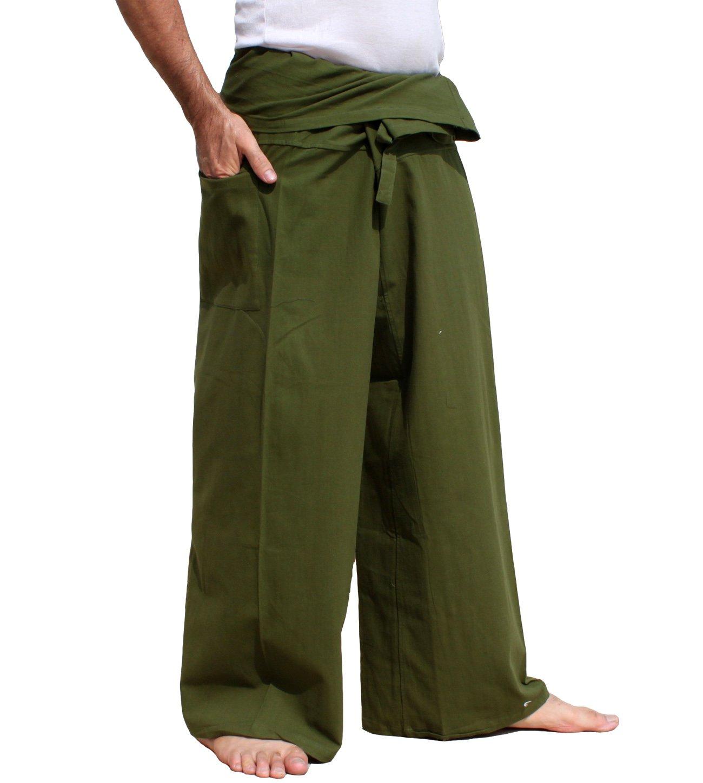 Raan Pah Muang Brand Light Summer Cotton Thai Plain Fisherman Wrap Pants Tall Cut, Small, Dark Olive Green by Raan Pah Muang