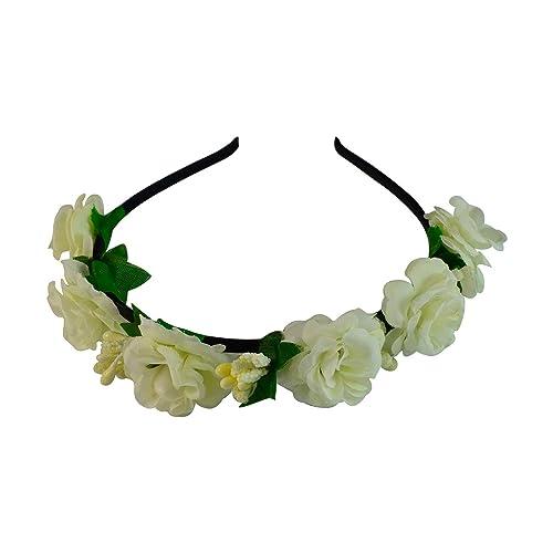 Sarah Off White Flower Crown Headband Bridal Floral Wreath Hairband