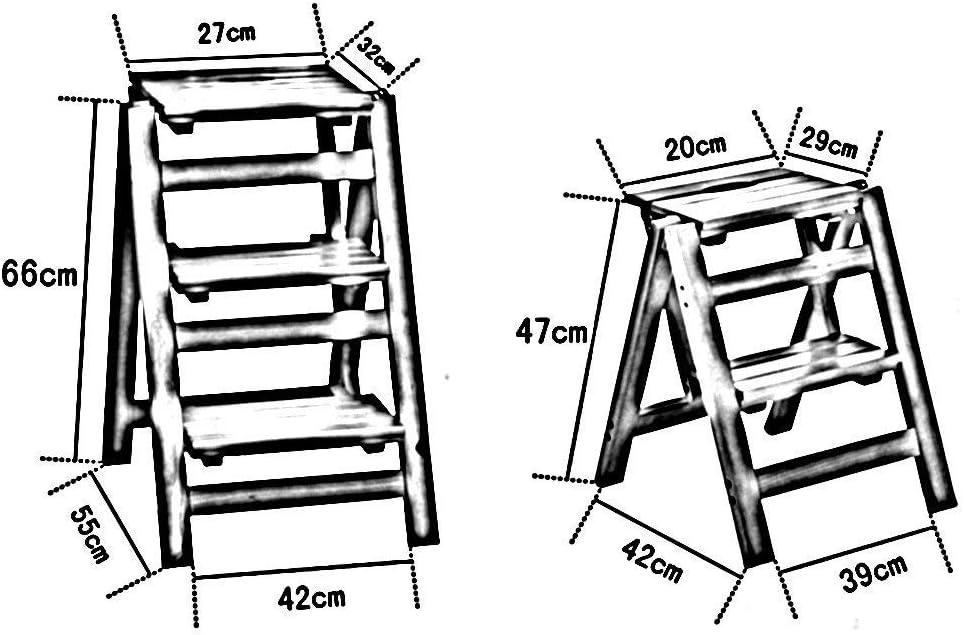 Klapptreppe Klappstufen Klapptritt Trittleiter Klappleiter Hocker aus Holz 3 Stufenleiter Stuhl Hocker Multifunktions Praktische Deformation Massivholz Klappstuhl Blumenst/änder Pedal Bibliothek Ascend