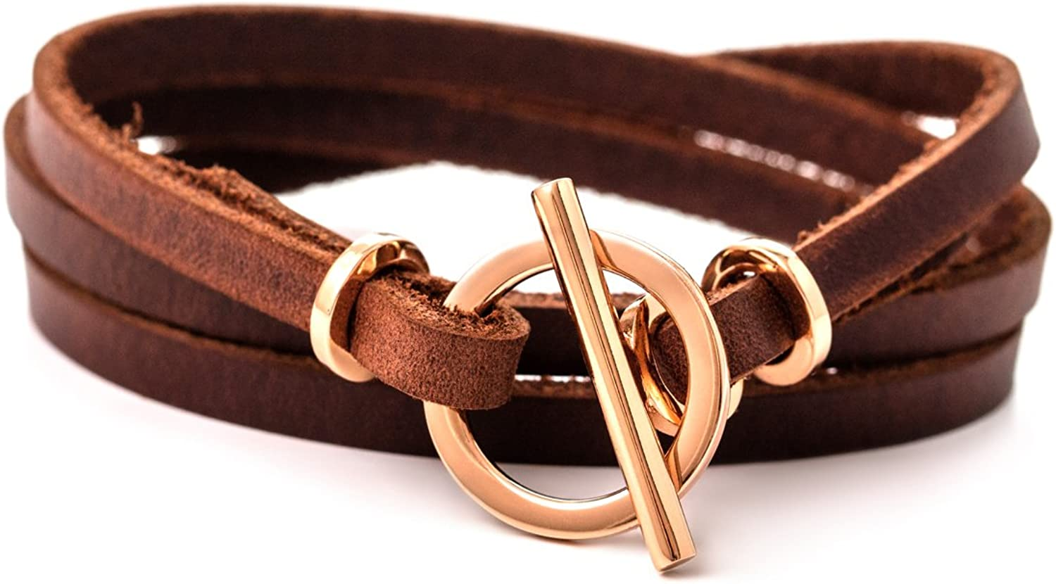 Rose gold Leather Bracelet for woman Leather Wrap Bracelet with Toggle Clasp and genuine leather handmade bracelet (Brown): Clothing