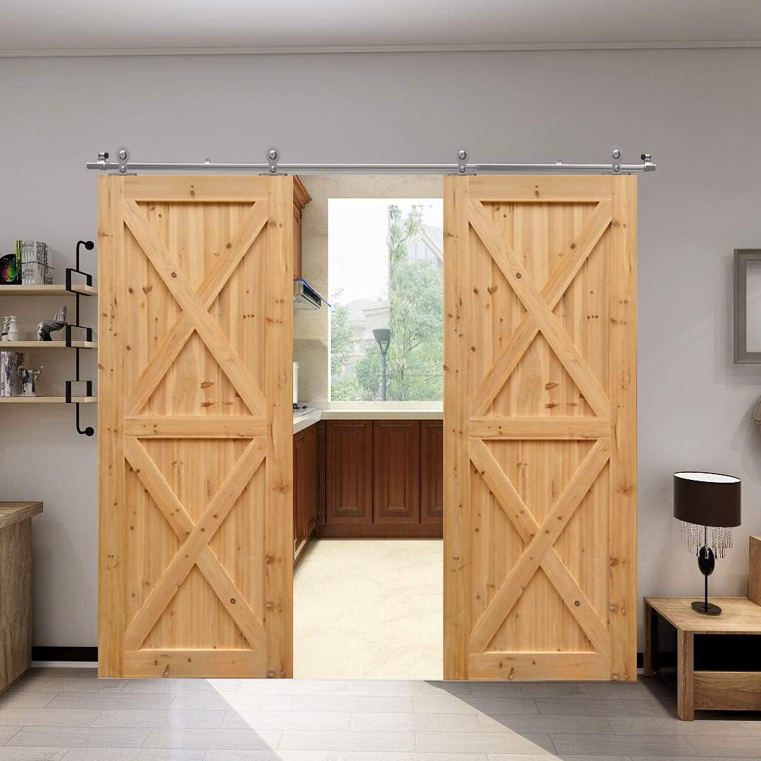 Glas Barn Door Hardware Cabinet Kit CCJH 5.5FT-168cm Edelstahl Gleitschiene Y geformte Roller Coat Rail Schiebe Einzel Holz