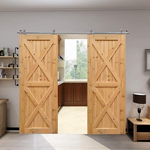Herraje para Puerta Corredera Acero Inoxidable Kit de Accesorios Guia Riel Puertas Correderas Forma T Puerta doble