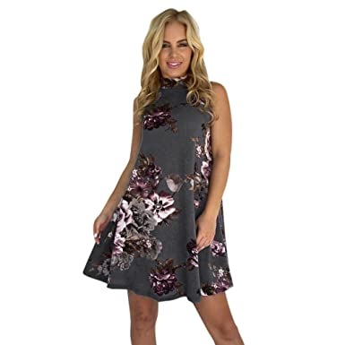 BBring Clearance Women Floral Print Sleeveless Summer Dress Holiday Party Prom Mini Swing Dress (Gray
