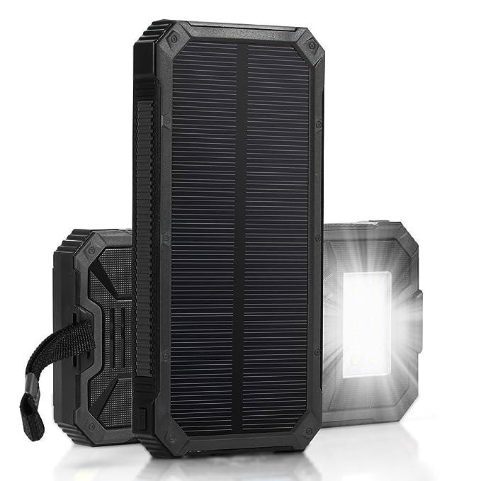 6 opinioni per Caricabatteria solare, Solar Power Bank 12000mAh batteria di backup esterna,