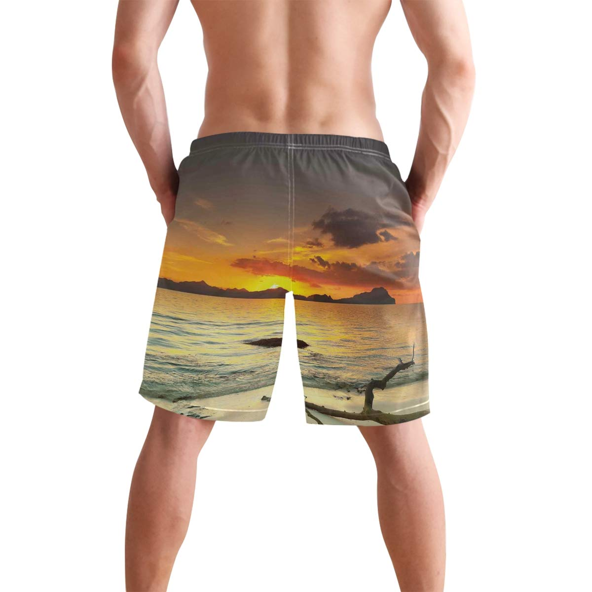 KVMV Sunset Over The Island Dry Tree Distant Hills Sandy Shoreline Vacation Des Quick Dry Beach Shorts