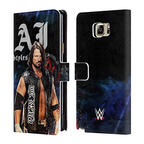 Official WWE LED Image 2017 AJ Styles Leather Book Wallet Case Cover For Samsung Galaxy Note5 / Note 5