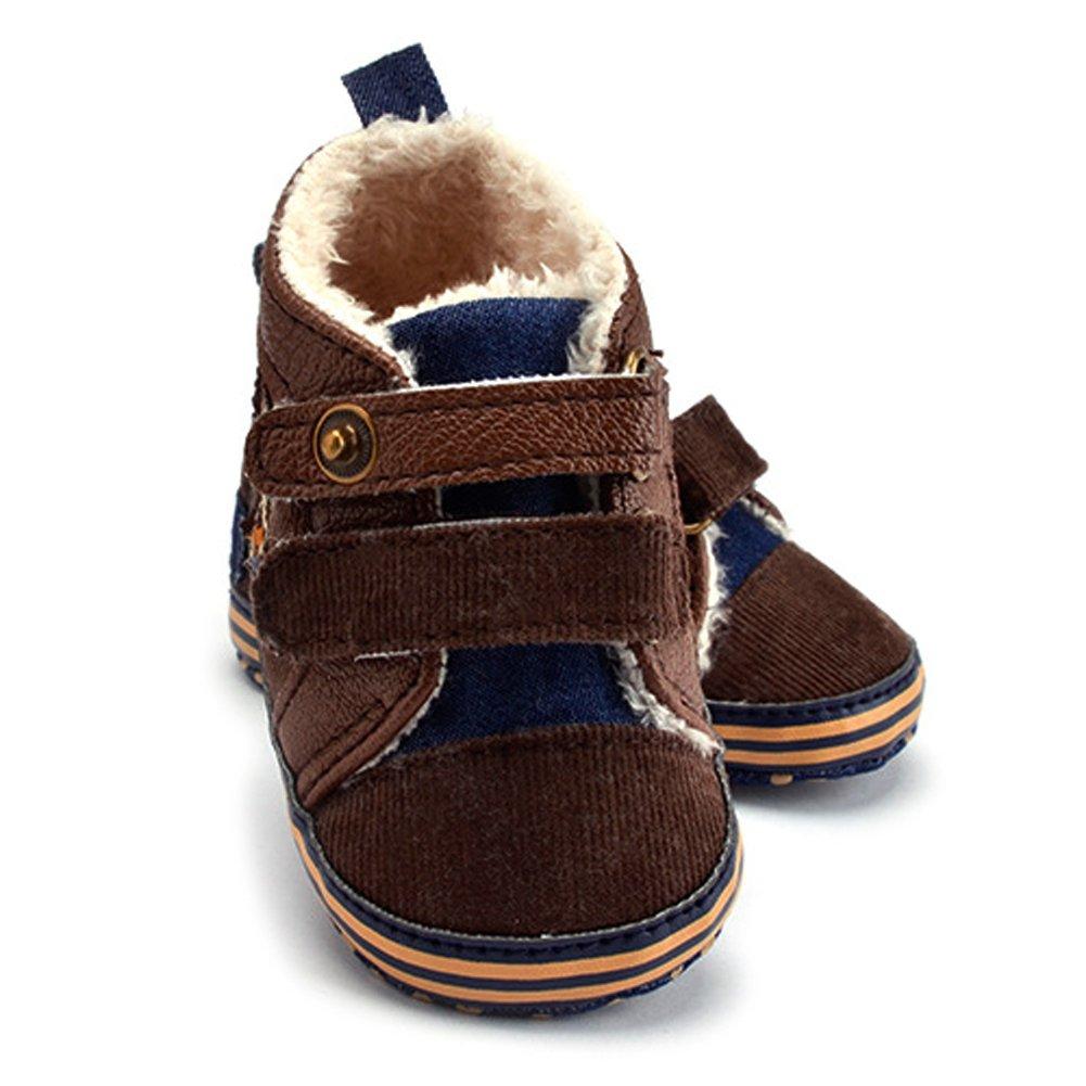 chinatera Newborn Baby Toddler Kids Soft Sole Warm Fur Anti-Slip Prewalker Sneaker Boot Shoes