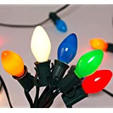 C7 Christmas Lights(25FT) 5 Multi-Color Outdoor&Indoor Ceramic String Lights (Plus 2 Extra Bulbs) for Holidays,Christmas…