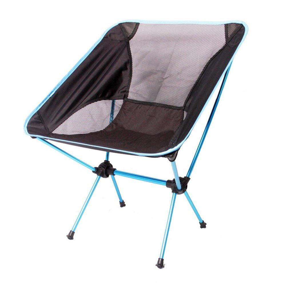 ベンチ 屋外キャンプ折りたたみ椅子ポータブル背もたれ超軽いレジャーチェア耐荷重120KG (A++) (色 : ライトブルー) B07DLWQ61K ライトブルー ライトブルー